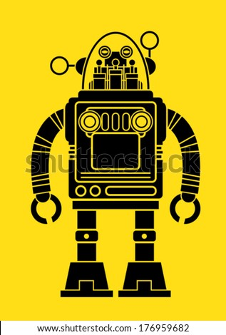 Vintage Tin Toy Robot Silhouette - stock vector