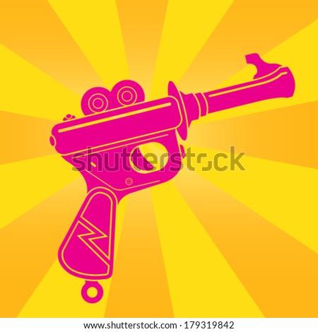 Vintage Tin Toy Space Gun Pop Illustration - stock vector