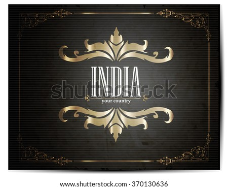 Vintage Touristic Greeting Card -India - Vector - stock vector