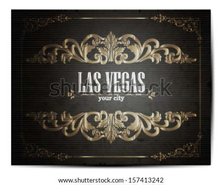 Vintage Touristic Greeting Card -Las Vegas- Vector  - stock vector