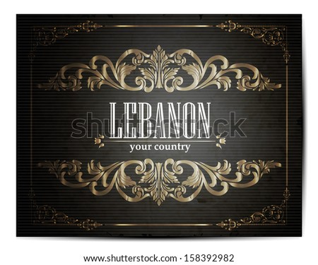Vintage Touristic Greeting Card -Lebanon- Vector EPS10.  - stock vector
