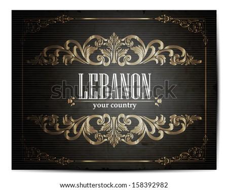 Vintage Touristic Greeting Card -Lebanon- Vector EPS10.  - stock vector