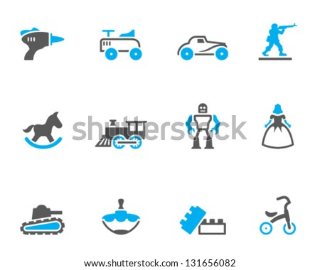 Vintage toy icons in duo tone colors - stock vector