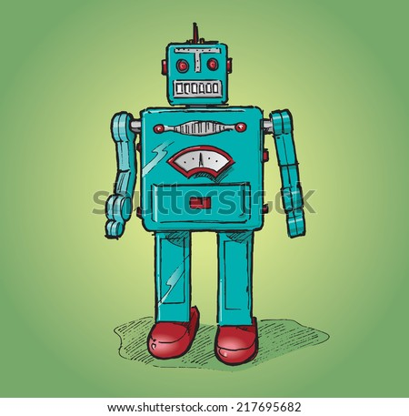 Vintage toy robot. Hand drawn isolated color vector sketch on green background.
