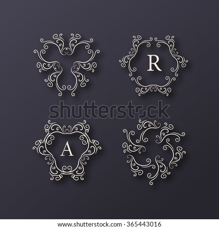 Vintage Tracery Monogram or Logo Template - stock vector