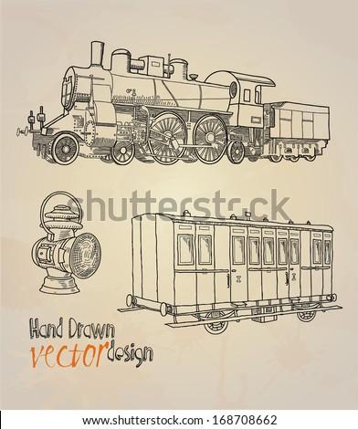 vintage transport. railway - stock vector