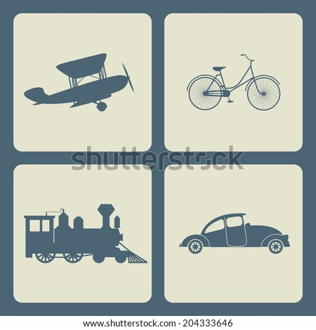Vintage transportation set. Steam train, aircraft, cars, bicycle. - stock vector