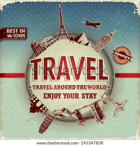 Vintage Travel Around World Poster Stock Vector 145347838 ...