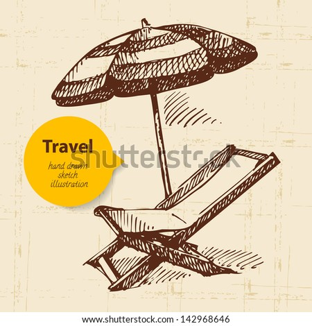 Vintage travel background with beach armchair and umbrella. Hand drawn illustration - stock vector