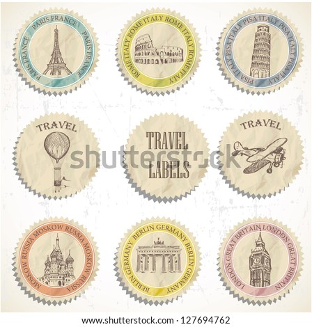 Vintage Travel labels - stock vector