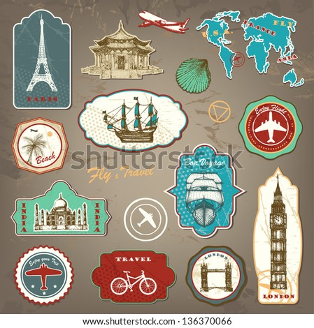 Vintage travel labels with hand drawn elements - stock vector