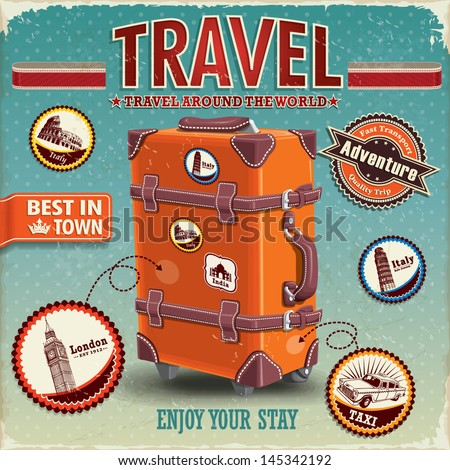 Vintage travel luggage poster with labels - stock vector
