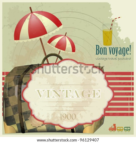 Vintage Travel Postcard - vacation items on grunge background - stock vector