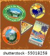 vintage travel stickers vector set - stock