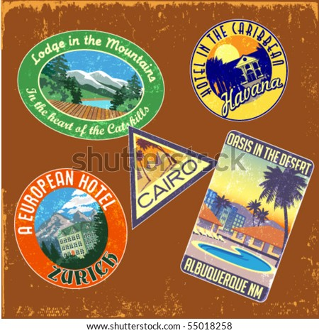 vintage travel stickers vector set - stock vector