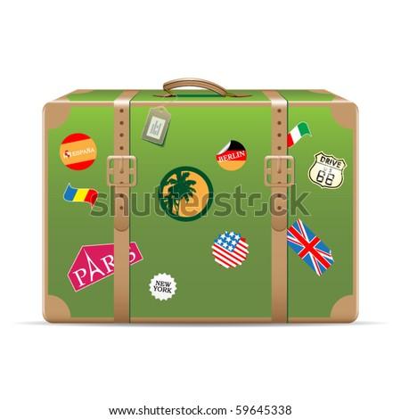 Vintage travel suitcase - stock vector