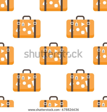vintage travel suitcases, flat yellow seamless pattern background, luggage symbol