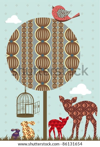 vintage tree vector/illustration - stock vector