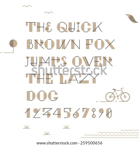 Vintage trendy geometric font. High quality vector design element. - stock vector