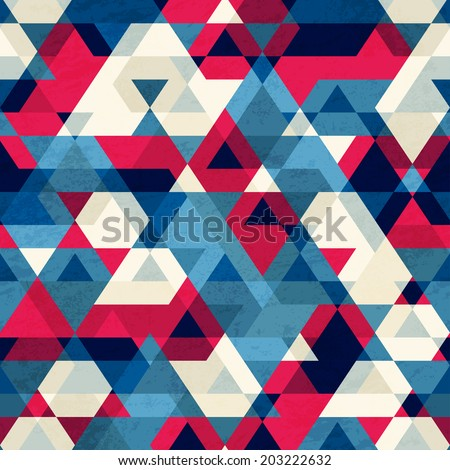 vintage triangle seamless pattern - stock vector