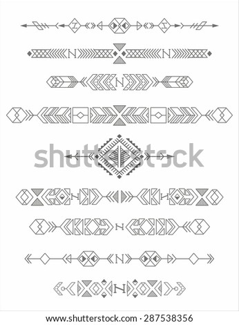 vintage tribal ethnic elements, native american motifs - stock vector