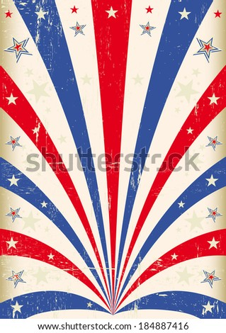 Vintage tricolor poster. A vintage background with red and blue sunbeams