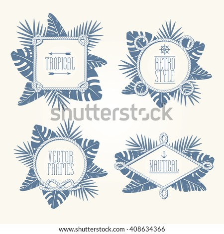Vintage tropical vector borders. Retro rope frames and tropic leaves silhouette. Exotic nature design for your poster, t-shirt, card or web. Fresh background for your text. Easy to use. Enjoy! - stock vector