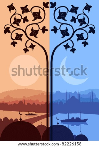 Vintage turkish city Istanbul landscape night and day cycle illustration - stock vector
