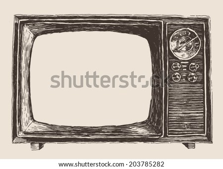 vintage TV, engraving illustration, hand drawing - stock vector