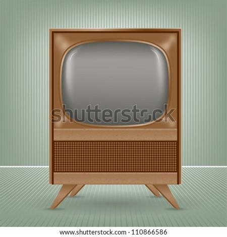 Vintage tv set - stock vector