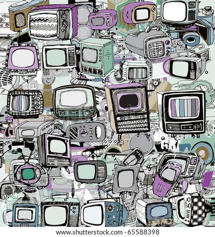 Vintage TV (vector) - stock vector