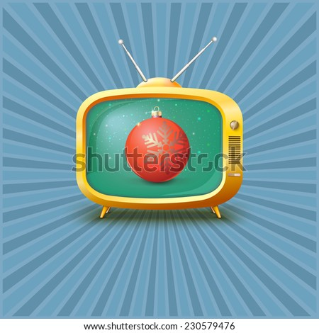 Vintage TV with red Christmas ball, vector illustration. - stock vector