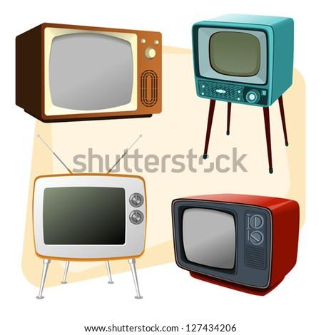 Vintage TVs - stock vector