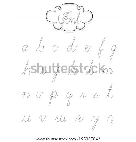 Vintage type font lowercase filigree set of calligraphic alphabet style. - stock vector