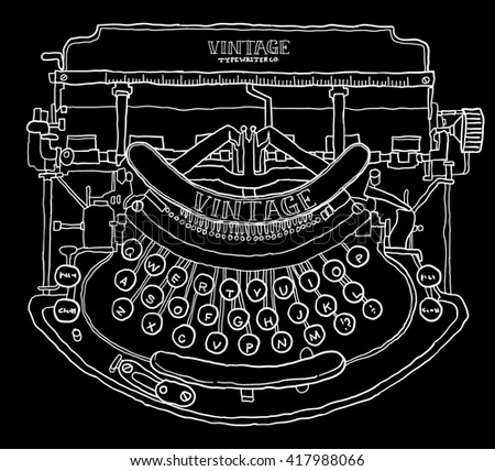 Vintage Type Writer Hand Drawn - stock vector