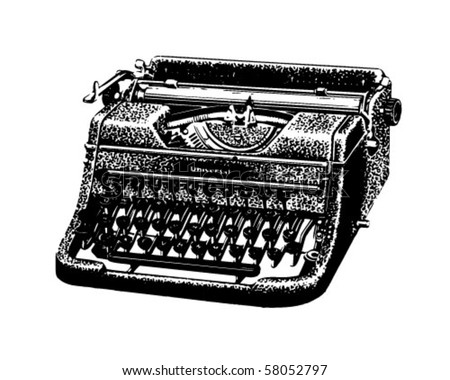 Vintage Typewriter - Retro Clip Art - stock vector