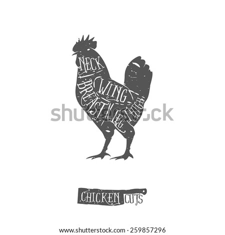 Vintage typographic chicken butcher cuts diagram - stock vector