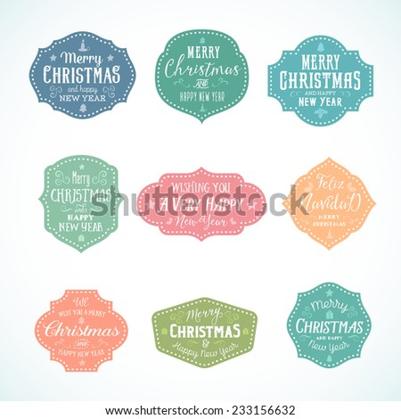Vintage Typography Soft Color Cute Christmas Vector Badges Set With Candle, Star, Gift, Borders and Tree Isolated - stock vector