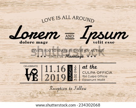 Vintage typography wedding invitation card design stock vector vintage typography wedding invitation card design stopboris Images