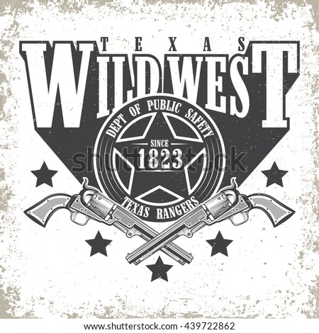 Vintage typography, Wild West t-shirt graphics,  apparel stamps, tee print design, vintage  emblem of rangers, vector - stock vector