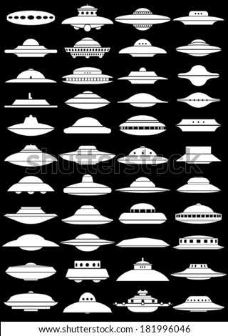 Vintage UFO Flying Saucer Shapes Silhouettes on black Background - stock vector