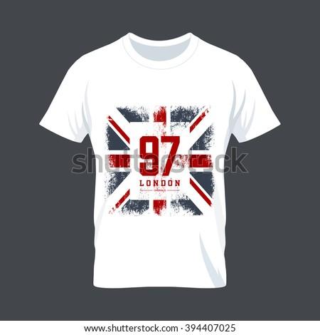 Vintage United Kingdom Flag Tee Print Vector Design Premium Quality Great Britain Superior Number Logo