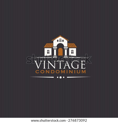 Vintage Upscale Condominium Creative Vector Emblem Concept - stock vector