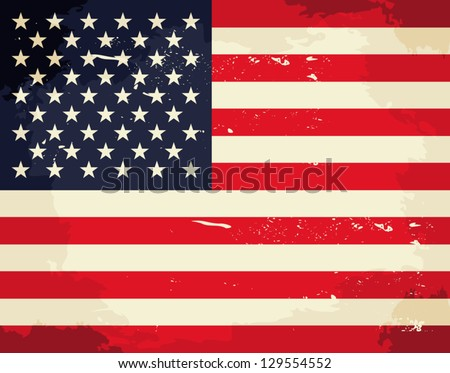 Vintage USA flag. - stock vector