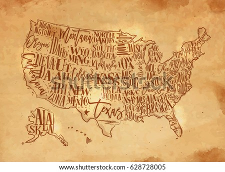 Vintage Usa Map States Inscription California Stock Vector - Usa map vintage