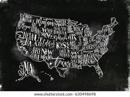 Vintage Usa Map With States Inscription California Florida Washington Texas New York