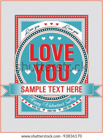 Vintage Valentine card. Vector illustration. - stock vector