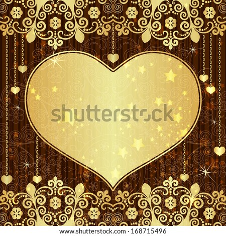 Vintage valentine frame with big gold  translucent heart and stars (vector eps 10) - stock vector