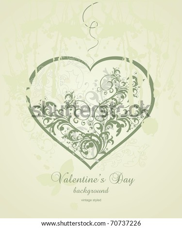 Vintage  Valentine's Day background - stock vector