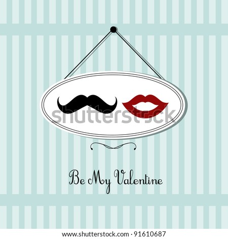 vintage valentine's day card design - stock vector